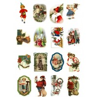 "Vintage Christmas Kids Play Santa Tree // Decoupage Paper Pack (10sheets A4 / 8""x12"")"