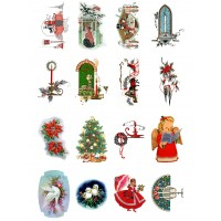 "Vintage Christmas Tree Gift Art Deco // Decoupage Paper Pack (10sheets A4 / 8""x12"")"