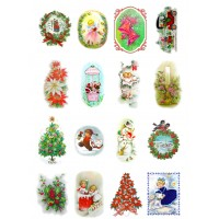 "Vintage Christmas Tree Decorations Gift // Decoupage Paper Pack (10sheets A4 / 8""x12"")"