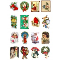 "Vintage Christmas Decorations Kids Gift // Decoupage Paper Pack (10sheets A4 / 8""x12"")"