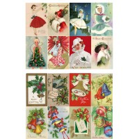 "Vintage Christmas Bells Decorations Fairy // Decoupage Paper Pack (10sheets A4 / 8""x12"")"
