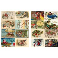 "Vintage Christmas Santa Transport Gift // Decoupage Paper Pack (10sheets A4 / 8""x12"")"