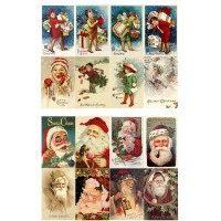 "Vintage Christmas Santa Kids with Gifts // Decoupage Paper Pack (10sheets A4 / 8""x12"")"
