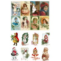 """Vintage Christmas Your Girls // Decoupage Paper Pack (10sheets A4 / 8""""x12"""")"""