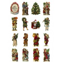 "Vintage Christmas Santa  Tree // Decoupage Paper Pack (10sheets A4 / 8""x12"")"