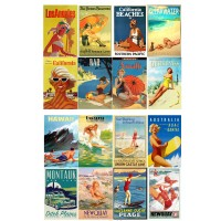 "Sunny California Vintage Travel Poster // Decoupage Paper Pack (10sheets A4 / 8""x12"")"