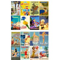 "Caribbean and Europe Vintage Travel Poster // Decoupage Paper Pack (10sheets A4 / 8""x12"")"
