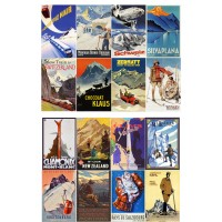 "Vintage Travel Poster Europe Ski // Decoupage Paper Pack (10sheets A4 / 8""x12"")"