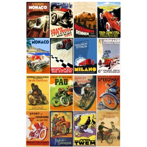 "Vintage Racing Posters Cars Bike // Decoupage Paper Pack (10sheets A4 / 8""x12"")"