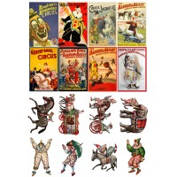 "Vintage Circus Posters Clown //  Decoupage Paper Pack (10sheets A4 / 8""x12"")"