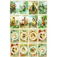 "Victorian Ladies and Floral Plates // Decoupage Paper Pack (10sheets A4 / 8""x12"")"