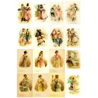 "Victorian Lady and Gentleman // Decoupage Paper Pack (10sheets A4 / 8""x12"")"