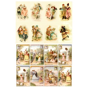 "Victorian Lady Gentleman and Kids // Decoupage Paper Pack (10sheets A4 / 8""x12"")"