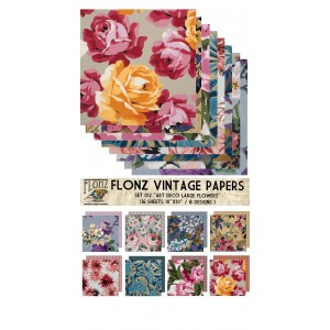 "Art Deco Large Flowers (Paper Set 16 pages 10""x10"")"