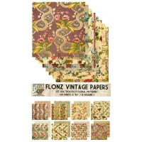 "Rococo Floral Patterns  (Paper Set 24 sheets 6""x6"")"