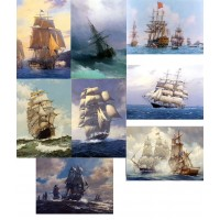 "Stickers (each sticker 2.5""x3.5"", pack 6 pcs) Sailships FLONZ Vintage"