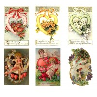 "Stickers (each sticker 2.5""x3.5"", pack 6 pcs) Valentine Day Love Cupids FLONZ Vintage"
