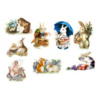 "Stickers (each sticker 2.5""x3.5"", pack 6 pcs) Easter Bunny FLONZ Vintage"