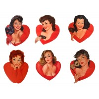 "Stickers (each sticker 2.5""x3.5"", pack 6 pcs) PinUp Girls Pin Up Sexy FLONZ Vintage"