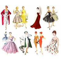 "Stickers (each sticker 2.5""x3.5"", pack 8 pcs) Vintage Fashion Lady Fifties FLONZ Vintage"
