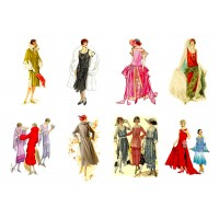 "Stickers (each sticker 2.5""x3.5"", pack 6 pcs) Vintage Fashion Belle Epoque FLONZ Vintage"