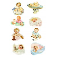 "Stickers (each sticker 2.5""x3.5"", pack 8 pcs) Toddler Baby Newborn Kids FLONZ Vintage"