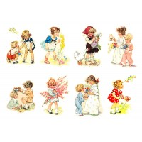 "Stickers (each sticker 2.5""x3.5"", pack 8 pcs) Kids Children Playing with Flowers FLONZ Vintage"