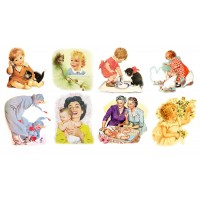 "Stickers (each sticker 2.5""x3.5"", pack 8 pcs) Childrens and Moms FLONZ Vintage"