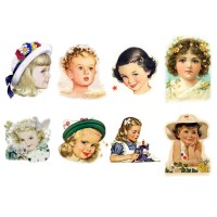 "Stickers (each sticker 2.5""x3.5"", pack 6 pcs) Young Lady Portraits FLONZ Vintage"