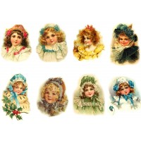 "Stickers (each sticker 2.5""x3.5"", pack 8 pcs) Victorian Young Girls Portraits FLONZ Vintage"