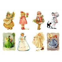 "Stickers (each sticker 2.5""x3.5"", pack 8 pcs) Victorian Children FLONZ Vintage"