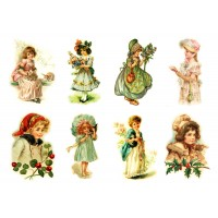 "Stickers (each sticker 2.5""x3.5"", pack 6 pcs) Young Girls FLONZ Vintage"
