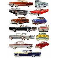 "Stickers (each sticker 1.5""x3.5"", pack 13 pcs) Classic Cars America Fifties Ford Chevy Cadillac FLONZ Vintage"