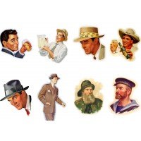"Stickers (each sticker 2.5""x3.5"", pack 8 pcs) Man Vintage Portraits FLONZ Vintage"