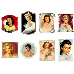 "Stickers (each sticker 2.5""x3.5"", pack 8 pcs) Beautiful Ladies Vintage Portrait FLONZ"
