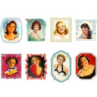 "Stickers (each sticker 2.5""x3.5"", pack 8 pcs) Beautiful Ladies Vintage Portrait FLONZ Vintage"