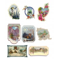 "Stickers (each sticker 2.5""x3.5"", pack 8 pcs) Landscapes Winter Spring FLONZ Vintage"