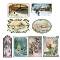 "Stickers (each sticker 2.5""x3.5"", pack 8 pcs) Christmas Winter Landscapes FLONZ Vintage"