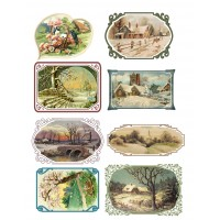 "Stickers (each sticker 2.5""x3.5"", pack 8 pcs) Pastoral Landscapes FLONZ Vintage"