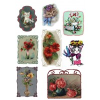 "Stickers (each sticker 2.5""x3.5"", pack 8 pcs) Kitten and Flowers"