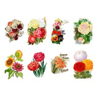 "Stickers (each sticker 2.5""x3.5"", pack 8 pcs) Vintage Flowers Drawing"