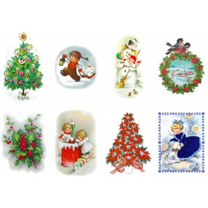 """Stickers (each sticker 2.5""""x3.5"""", pack 8 pcs) Vintage Christmas Drawing Pictures"""