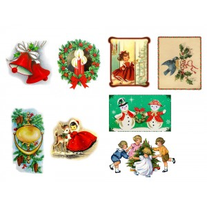 "Stickers (each sticker 2.5""x3.5"", pack 8 pcs) Vintage Christmas Drawing Pictures"