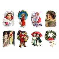 "Stickers (8 pics 2.5""x3.5"" each) Vintage Christmas Pictures Santa"