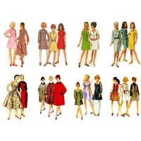 "Stickers (8 pics 2.5""x3.5"" each) Vintage Fashion Girl Disco Years"