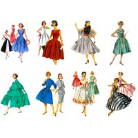 "Stickers (8 pics 2.5""x3.5"" each) Vintage Fashion Girl Fifties"
