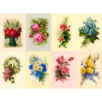 "Stickers (8 pics 2.5""x3.5"" each) Vintage Flowers Garden Wildflowe"