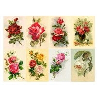 "Stickers (8pics 2.5""x3.5""each) Vintage Rose Flowers Garden"
