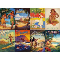 "Stickers (8 pics 2.5""x3.5"" each) Vintage Travel Poster Hawaii"