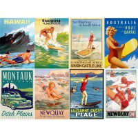 "Stickers (8 pics 2.5""x3.5"" each) Vintage Travel Poster Pacific"